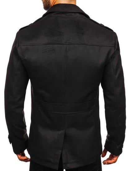 Černý pánský zimní kabát Bolf 3123