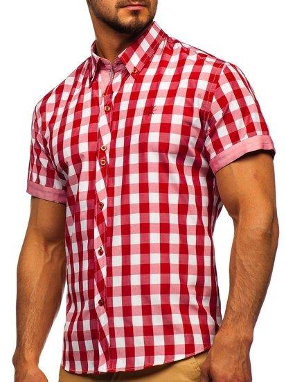 Červená pánská kostkovaná košile s krátkým rukávem Bolf 6522