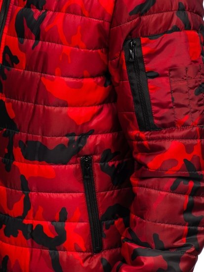 Červená pánská maskáčová sportovní přechodová bunda Bolf MY13M