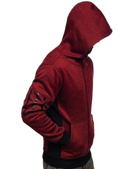 Červená pánská mikina na zip s kapucí Bolf 80581