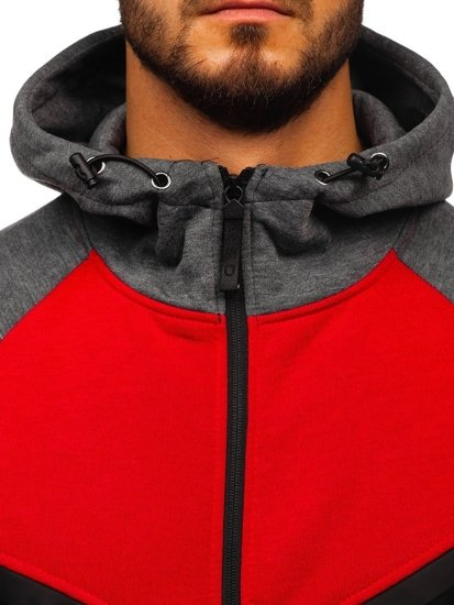 Červená pánská mikina na zip s kapucí Bolf 80688
