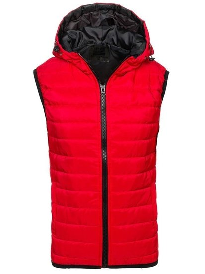 Červená pánská vesta s kapucí Bolf AK88