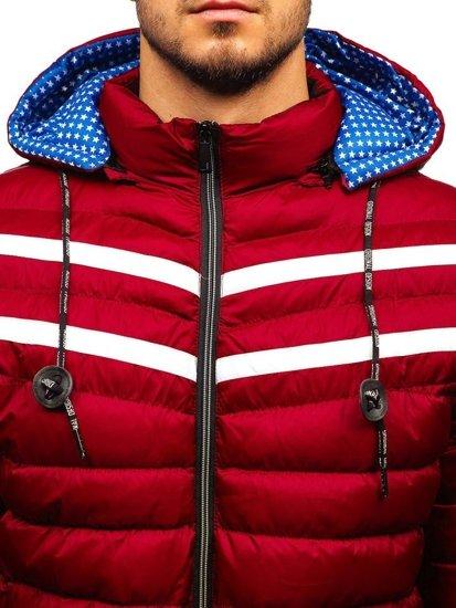 Červená pánská zimní bunda Bolf A211