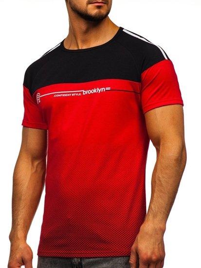 Červené pánské tričko s potiskem Bolf SS10955