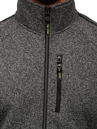 Grafitová pánská mikina na zip bez kapuce Bolf TC1001