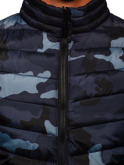 Grafitová pánská prošívaná maskáčová sportovní zimní bunda Bolf SM32