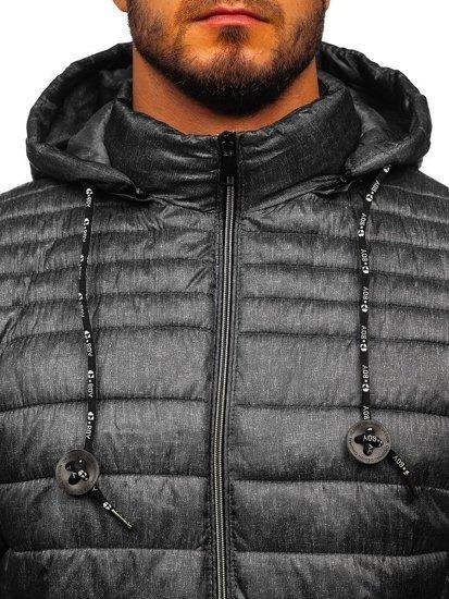 Grafitová pánská prošívaná sportovní zimní bunda Bolf 50A411