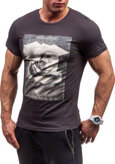 Grafitové pánské tričko s potiskem Bolf 2017
