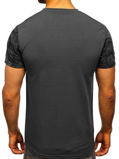 Grafitové pánské tričko s potiskem Bolf SS10999