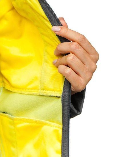 Grafitovo-žlutá dámská přechodová softshellová bunda Bolf AB002