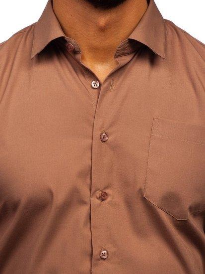Hnědá pánská elegantní košile s dlouhým rukávem Bolf 0003