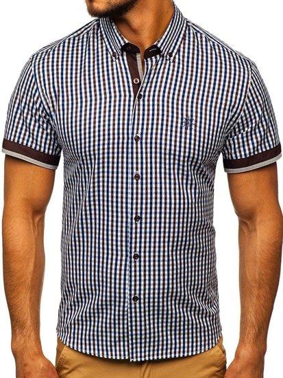 Hnědá pánská kostkovaná košile s krátkým rukávem Bolf 4510