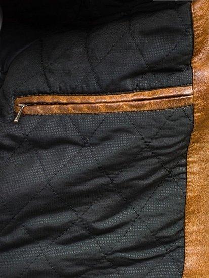 Hnědá pánská koženková bunda Bolf EX282