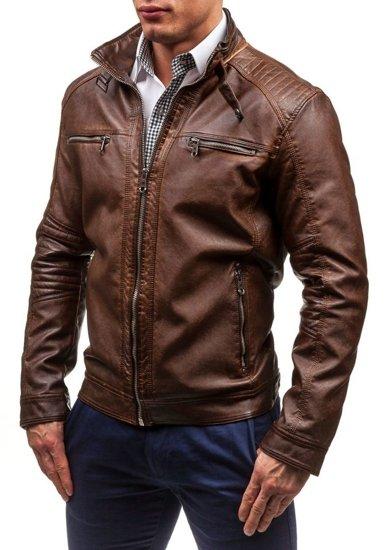 Hnědá pánská koženková bunda Bolf EX308