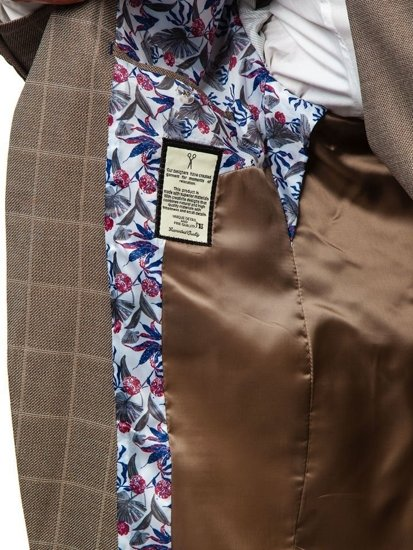 Hnědý pánský oblek s vestou Bolf 18300