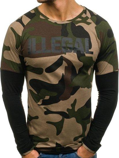 Khaki pánské tričko s dlouhým rukávem Bolf 1162
