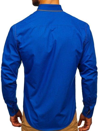 Královsky modrá pánská elegantní košile s dlouhým rukávem Bolf 4777