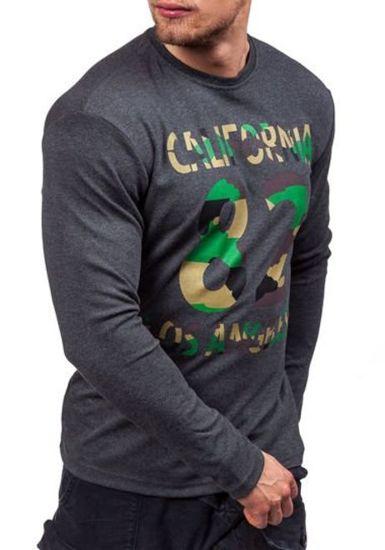 Maskáčovo-antracitové pánské tričko s dlouhým rukávem s potiskem Bolf 4630