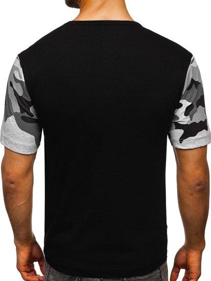 Maskáčovo-černé pánské tričko s potiskem Bolf 6308