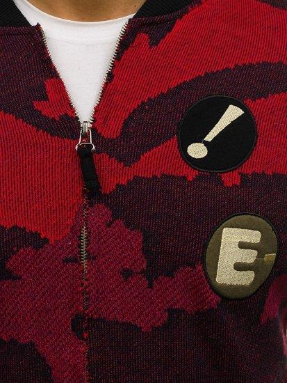 Maskáčovo-červená pánská mikina bomber bez kapuce Bolf 0894