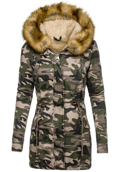 Maskáčovo-khaki dámská zimní bunda Bolf 1925