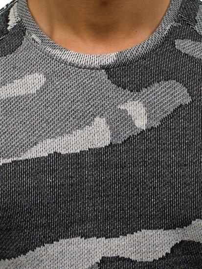 Maskáčovo-šedá pánská mikina bez kapuce Bolf 2039