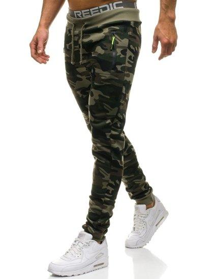 Maskáčovo-zelené pánské jogger tepláky Bolf JX8121