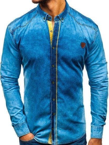 Modrá pánská džínová košile s dlouhým rukávem Bolf RL15