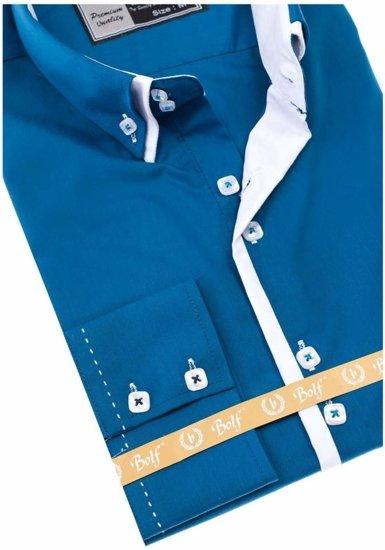 Modrá pánská elegantní košile s dlouhým rukávem Bolf 1721-A