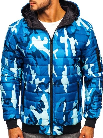 Modrá pánská maskáčová sportovní přechodová bunda Bolf MY13M