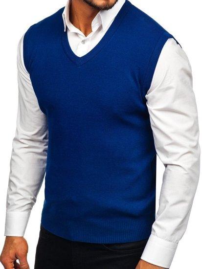 Modrá pánská pletená vesta Bolf H1950