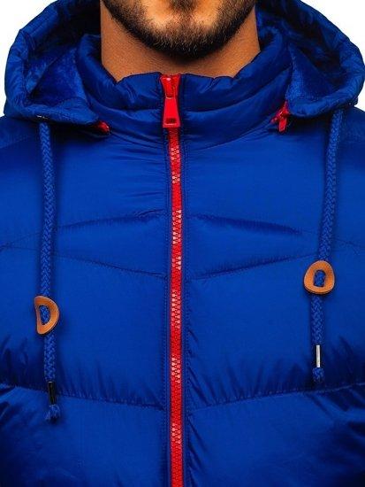 Modrá pánská prošívaná sportovní zimní bunda Bolf 50A156
