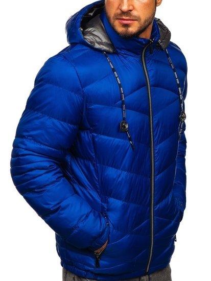 Modrá pánská prošívaná sportovní zimní bunda Bolf 50A223