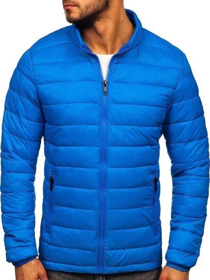 Modrá pánská prošívaná zimní bunda Bolf 1119