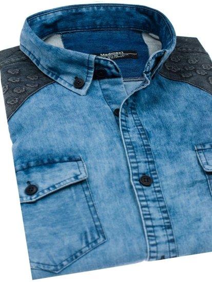 Modrá pánská vzorovaná košile s dlouhým rukávem Bolf 0517