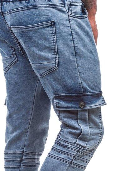Modré pánské džínové jogger kalhoty Bolf 805