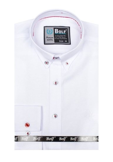 Pánská bílá elegantní košile s dlouhým rukávem Bolf 5803