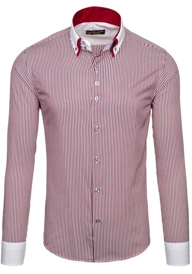 Pánská bordová business košile s dlouhým rukávem Bolf 0909