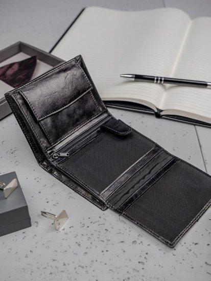 Pánská černá kožená peněženka 3195