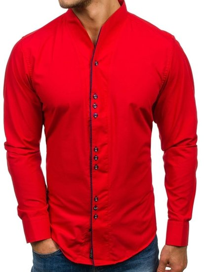 Pánská červená košile s dlouhým rukávem Bolf 5720