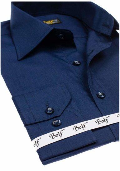 Pánská košile BOLF 1703-2 tmavě modrá