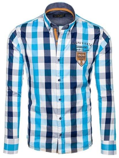 Pánská košile BOLF 1766 tyrkusová