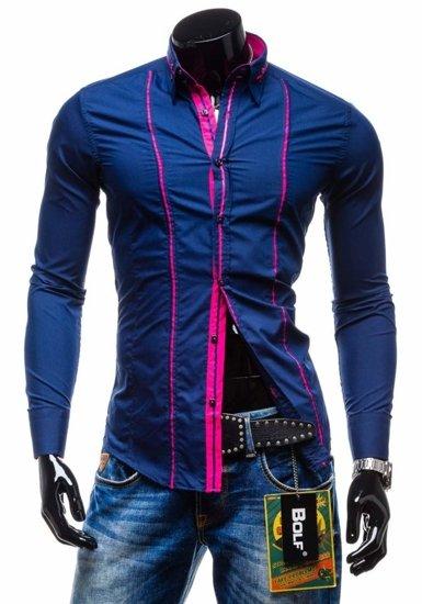 Pánská košile BOLF 2964 tmavě modrá