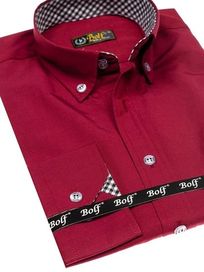 Pánská košile BOLF 4711 bordová