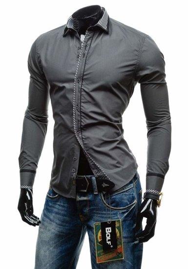 Pánská košile BOLF 4774 grafitová