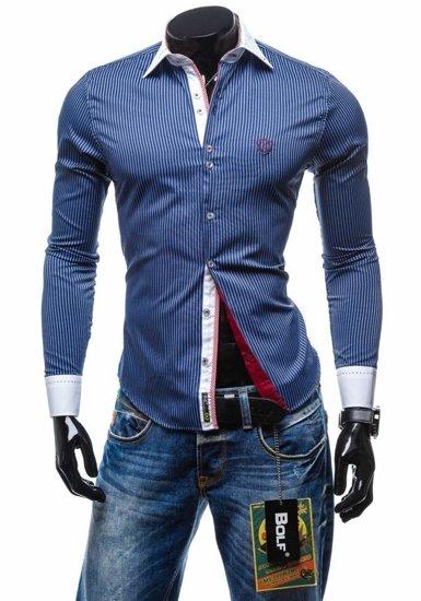 Pánská košile BOLF 4784-1 tmavě modrá