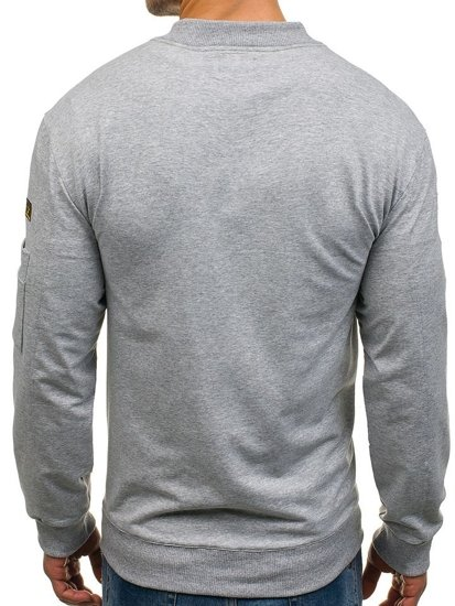 Pánská šedá mikina bez kapuce Bolf 0733