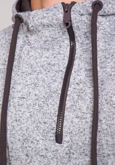 Pánská šedá mikina s kapucí Bolf 2134