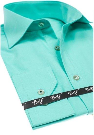 Pánská světle zelená elegantní košile s dlouhým rukávem Bolf 1703
