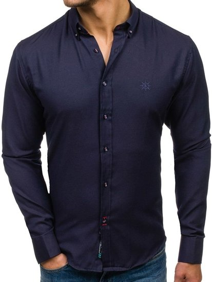 Pánská tmavě modrá elegantní košile s dlouhým rukávem Bolf 5803